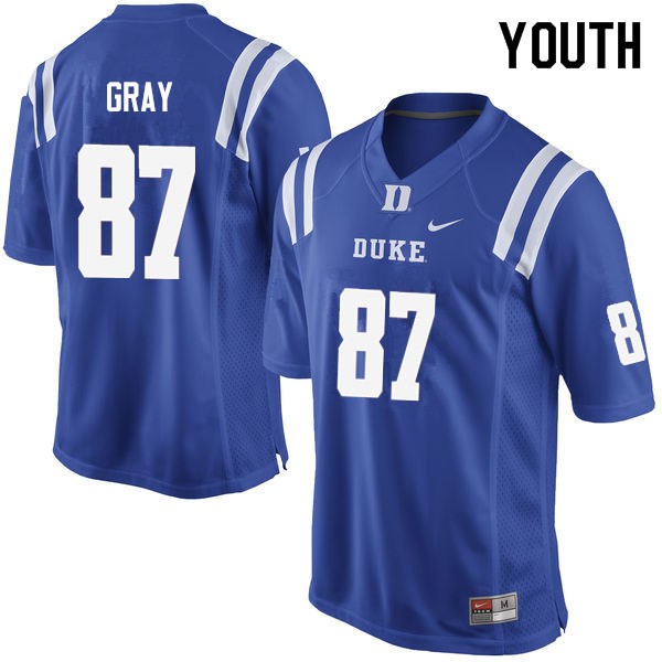 Youth #87 Noah Gray Duke Blue Devils College Football Jerseys Sale-Blue