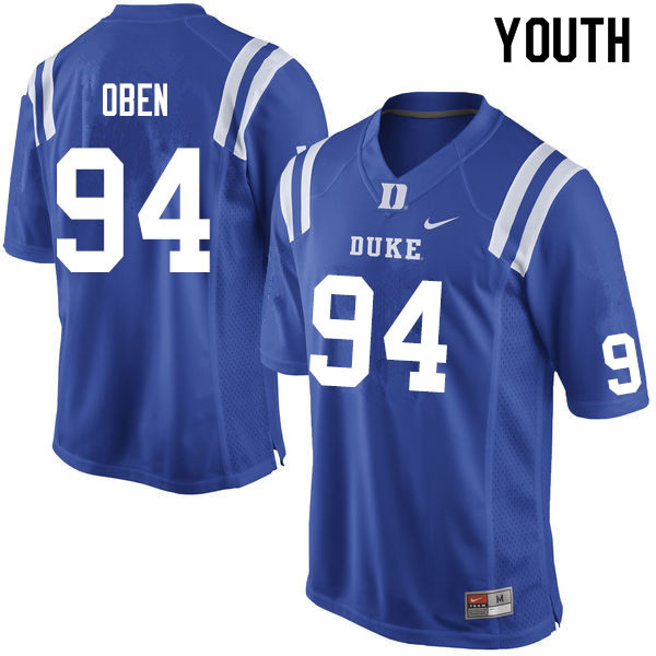 Youth #94 R.J. Oben Duke Blue Devils College Football Jerseys Sale-Blue
