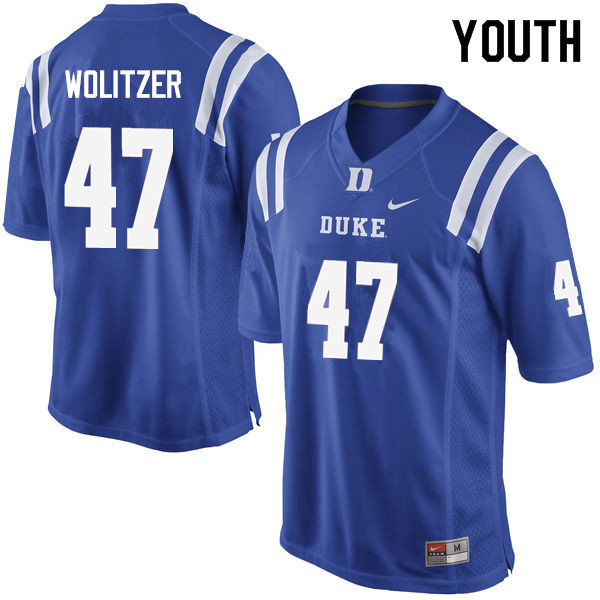 Youth #47 Ryan Wolitzer Duke Blue Devils College Football Jerseys Sale-Blue