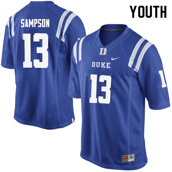 Youth #13 Sayvon Sampson Duke Blue Devils College Football Jerseys Sale-Blue