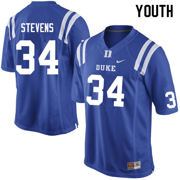 Youth #34 Sayyid Stevens Duke Blue Devils College Football Jerseys Sale-Blue
