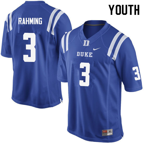 Youth #3 T.J. Rahming Duke Blue Devils College Football Jerseys Sale-Blue