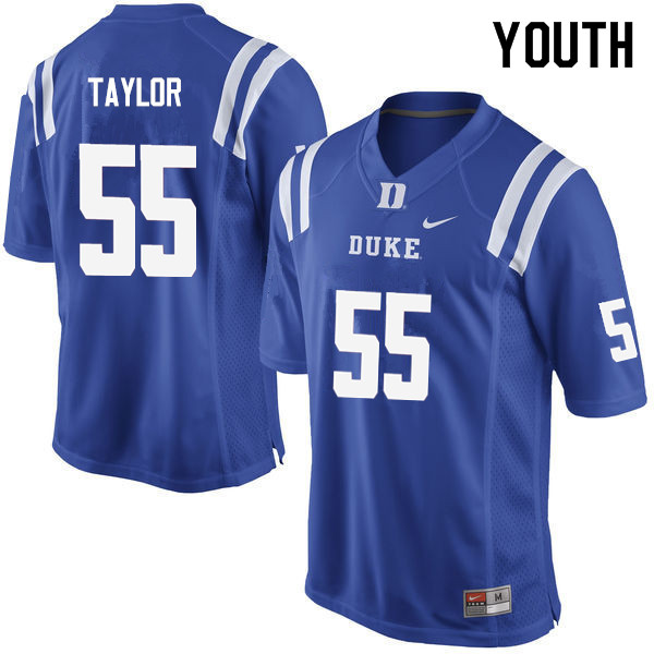 Youth #55 Will Taylor Duke Blue Devils College Football Jerseys Sale-Blue