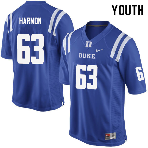 Youth #63 Zach Harmon Duke Blue Devils College Football Jerseys Sale-Blue