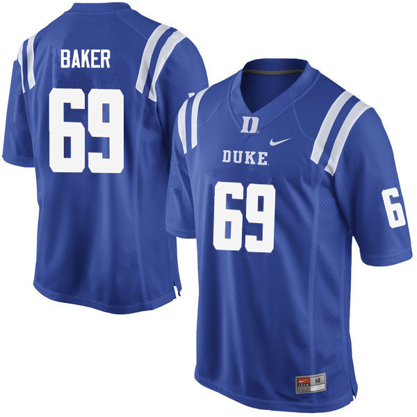 Men #69 Zach Baker Duke Blue Devils College Football Jerseys Sale-Blue