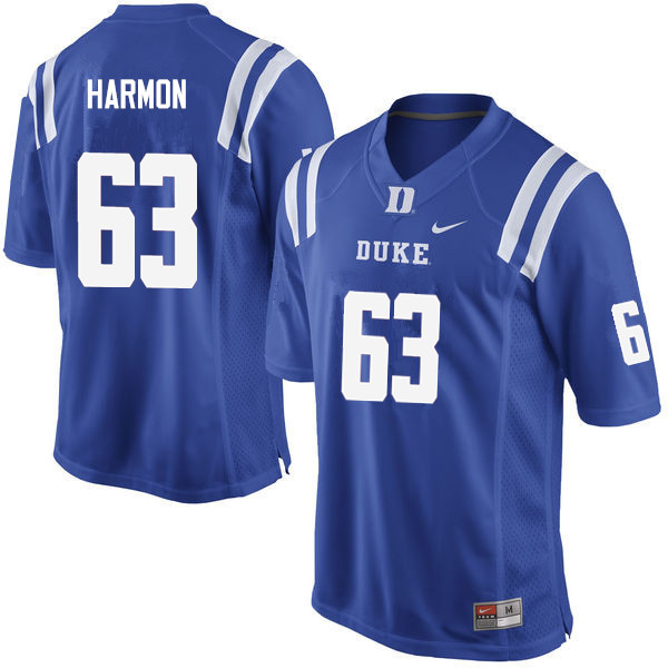 Men #63 Zach Harmon Duke Blue Devils College Football Jerseys Sale-Blue